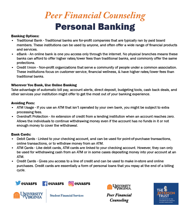 A handout containing brief summaries from each section of the Personal Banking webpage.