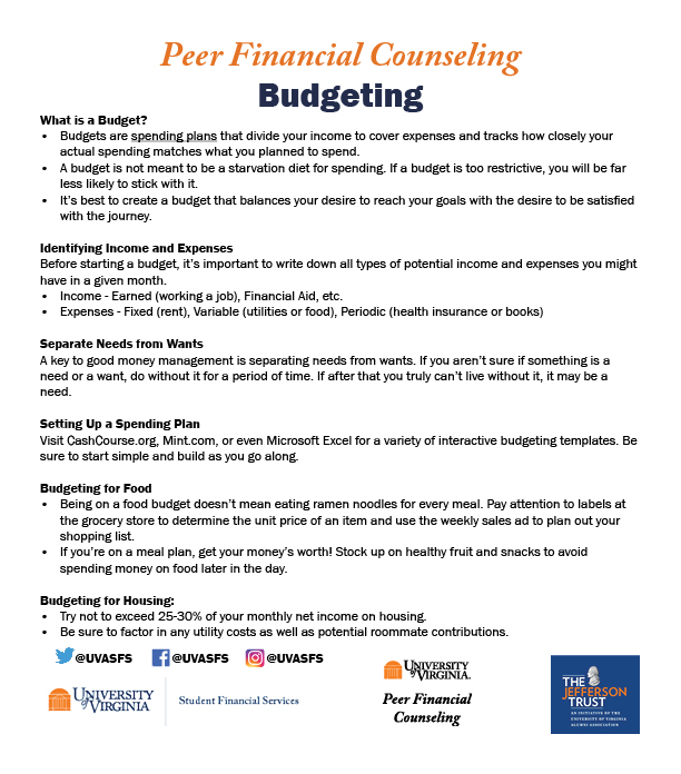 A handout containing brief summaries from each section of the Budgeting webpage.
