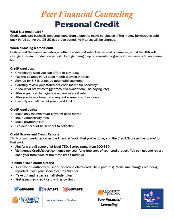 A handout containing brief summaries from each section of the Personal Credit webpage.