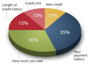 This pie chart explains the breakdown of a typical credit score.